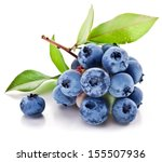 Blueberries With Leaves On A...