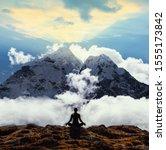 Small photo of Serenity and yoga practicing at himalayas mountain range, meditation