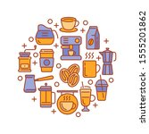 round design with coffee... | Shutterstock .eps vector #1555201862