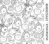 Hand Drawn Tangerines On White...