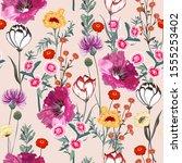 delicate blooming garden... | Shutterstock .eps vector #1555253402