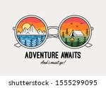 adventure awaits text with... | Shutterstock .eps vector #1555299095