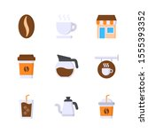 coffee shop flat vector icon...