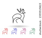 deer one line multi color icon. ...