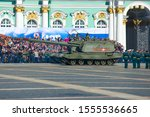 """Small photo of ST. PETERSBURG, RUSSIA - MAY 06, 2018: A fragment of the dress rehearsal of the military parade in honor of Victory Day. Self-propelled artillery mounts """"Msta-S"""" on Palace Square"""