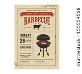 vintage barbecue invitation | Shutterstock .eps vector #155554538