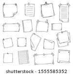 paper page doodle set in hand... | Shutterstock .eps vector #1555585352