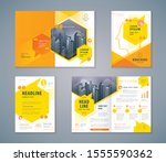 cover book design set  yellow... | Shutterstock .eps vector #1555590362