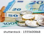 Euro Coins And Euro Bills
