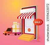 smartphone online store sale...   Shutterstock .eps vector #1555622072