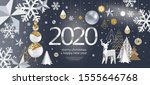 2020  merry christmas and a... | Shutterstock .eps vector #1555646768