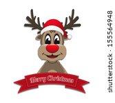 reindeer hat ribbon merry... | Shutterstock .eps vector #155564948