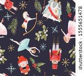christmas beautiful watercolor... | Shutterstock . vector #1555651478