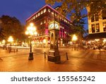 Stock photo gastown and the historical steam clock in vancouver canada 155565242