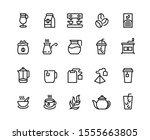 coffee and tea line icons.... | Shutterstock .eps vector #1555663805