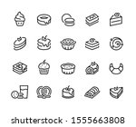 cakes and cookies line icons.... | Shutterstock .eps vector #1555663808