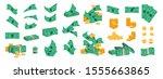bundle of money. golden coins... | Shutterstock .eps vector #1555663865