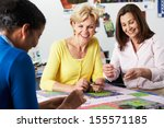 group of women making quilt...   Shutterstock . vector #155571185
