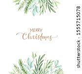 christmas frame with eucalyptus ... | Shutterstock . vector #1555715078