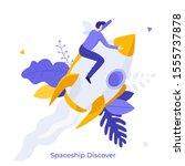 man sitting on flying rocket ... | Shutterstock .eps vector #1555737878