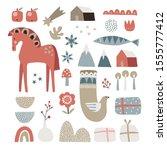 set of christmas scandinavian... | Shutterstock .eps vector #1555777412