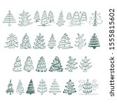 christmas tree flat glyph icons ... | Shutterstock .eps vector #1555815602