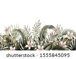 tropical vintage botanical palm ... | Shutterstock .eps vector #1555845095