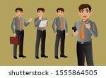 elegant businessman with...   Shutterstock .eps vector #1555864505