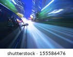 night drive with car in motion. | Shutterstock . vector #155586476