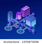 isometric urban architecture... | Shutterstock . vector #1555873058