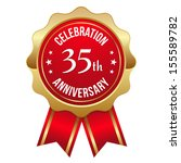gold red thirty five year... | Shutterstock .eps vector #155589782