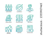 ageing society icons set... | Shutterstock .eps vector #1555907465
