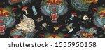 wolf head  dark seamless... | Shutterstock .eps vector #1555950158