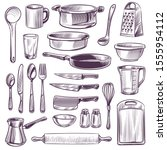 kitchen utensils. sketch... | Shutterstock .eps vector #1555954112
