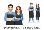 smiling young man and woman in... | Shutterstock .eps vector #1555994288