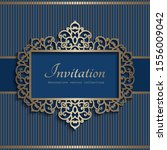 vintage gold frame with lace... | Shutterstock .eps vector #1556009042