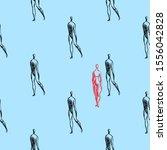 walking people seamless vector... | Shutterstock .eps vector #1556042828