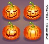 set of halloween pumpkin | Shutterstock .eps vector #155605022