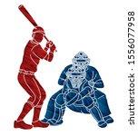 baseball player action cartoon...   Shutterstock .eps vector #1556077958