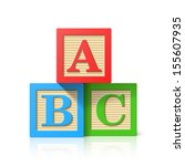 wooden alphabet cubes with a b... | Shutterstock .eps vector #155607935