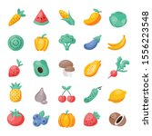colorful set of vector fruit... | Shutterstock .eps vector #1556223548