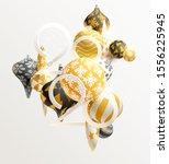 golden 3d christmas balls with... | Shutterstock .eps vector #1556225945