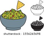 mexican nachos and guacamole... | Shutterstock .eps vector #1556265698