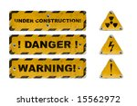 old yellow industrial warning... | Shutterstock . vector #15562972