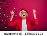 Cheerful Happy Old Woman...