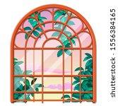 vintage round window... | Shutterstock .eps vector #1556384165