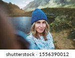 Woman Hiker Taking Selfie Photo ...