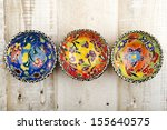 Hand Painted Bowls On Wooden...
