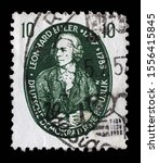 Small photo of ZAGREB, CROATIA - SEPTEMBER 05, 2014: A stamp issued in Germany - Democratic Republic (DDR) shows Leonhard Euler, mathematician, physicist, astronomer, logician and engineer, circa 1957.