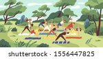 outdoor yoga class flat vector... | Shutterstock .eps vector #1556447825